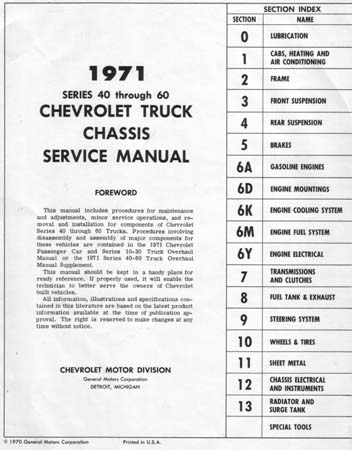 chevy truck shop manual