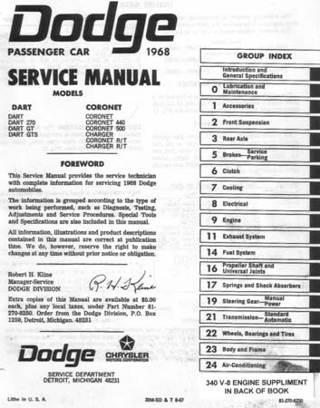 dodge car shop manual