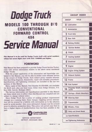 dodge truck shop manual