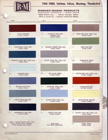ford car paint chips