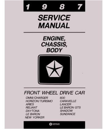 1987 chrysler lebaron, new yorker, dodge aries, charger, daytona, lancer,  omni, plymouth caravelle, horizon,