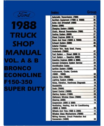 1988 ford f150-f350 light duty truck & econoline body, chassis & electrical  service manual  bishko books