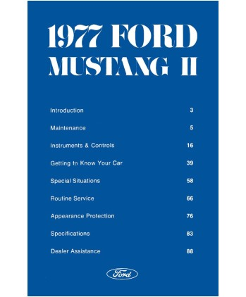 ford mustang ii owners manual