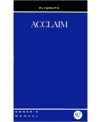 1992 plymouth acclaim owners manual. Black Bedroom Furniture Sets. Home Design Ideas